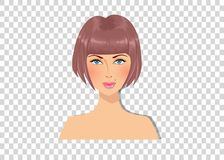 Beautiful brown-haired girl with blue eyes and magnificent bob hairstyle caramel brown color hair. Portrait isolated on transparent background vector illustration