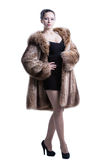 Young lady wearing luxury winter fur coat Stock Photos