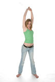 Full length stretching sexy woman Stock Photo