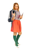Full length of student with phone Royalty Free Stock Images