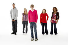 Full Length Studio Portrait Of Five Teenage Friend Stock Photography