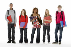 Full Length Studio Portrait Of Five Teenage Studen Stock Images