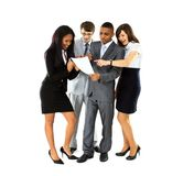 Full length of successful business professionals. Discuss during office break Stock Image