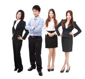 Full length successful Business team people group. Successful Business team people group crowd full length stand isolated on white background, model are asian Stock Photography