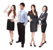 Full length successful Business team people group. Successful Business team people group crowd full length stand isolated on white background, model are asian Stock Images