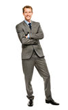 Full length of successful businessman on white background Royalty Free Stock Photo