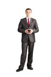 Full length suit tie businessman. Posing stand isolated on white royalty free stock photo