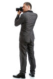 Full length suit tie photographer with camera Royalty Free Stock Photos