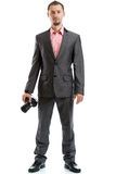 Full length suit tie photographer with camera Stock Photography
