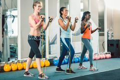 Full length of three fit women exercising with resistance bands. Full length of three fit and beautiful women standing up while exercising with fitness Royalty Free Stock Images