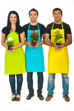 Full length of three florists team Royalty Free Stock Photos