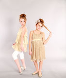 Full length of two little blonde girls Royalty Free Stock Images