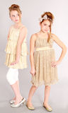Full length of two little blonde girls Royalty Free Stock Image