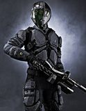 Full length vertical illustration of a masked futuristic armored soldier on an isolated white background. royalty free illustration