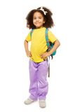 Full length view of African girl with rucksack royalty free stock photo