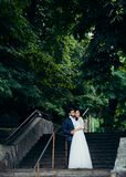 Full-length wedding portrait. The groom is kissing bride in the cheek while tenderly holding hands on the stairs at the. Background of the park Stock Photos