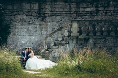 Full-length wedding portrait of the stylish happy newlyweds tenderly holding hands while sitting on the old castle. Stairs Stock Image