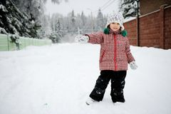 Full length winter portrait of adorable child girl Royalty Free Stock Images
