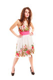 Full length woman girl in summer floral dress isolated. Fashion. Stock Photos