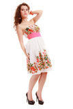Full length woman girl in summer floral dress isolated. Fashion. Stock Photo