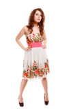 Full length woman girl in summer floral dress isolated. Fashion. Royalty Free Stock Photos
