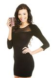 Full length woman holding a cup of coffee Royalty Free Stock Photography