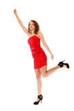 Full length woman holding imaginary balloons Stock Image