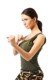 Full length woman in military clothes Stock Images
