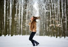 Full length of a woman outdoor in the snow Royalty Free Stock Images