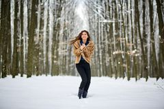 Full length of a woman outdoor in the snow Stock Photo