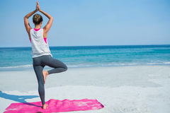 Full length of woman practicing yoga in tree pose at beach Stock Photos
