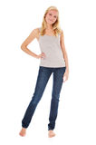 Full length woman. Full length shot of an attractive young woman. All on white background royalty free stock image