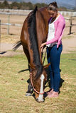 Full length of woman standing by horse. Full length of young woman standing by horse at ranch on sunny day stock photo
