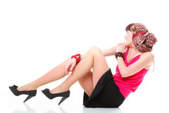 Full length woman in a turban isolated Stock Photo