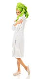 Full length woman wearing a bathrobe Royalty Free Stock Images