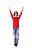 Full length woman in a winner gesture Royalty Free Stock Photography