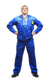 Full length worker in a boiler suit. isolated on Stock Image