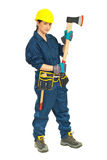 Full length of worker female with ax Stock Images