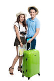 Full length of young asian couple ready to travel during summer. Stock Image