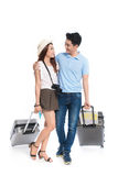 Full length of young asian couple ready to travel during summer. Stock Images