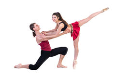 Full length of young ballet couple dancing on Stock Photo