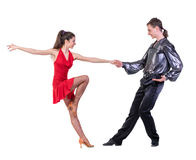 Full length of young ballet couple dancing on Royalty Free Stock Photography