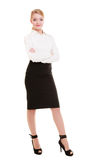 Full length of young blond businesswoman isolated on white Royalty Free Stock Photo