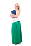 Full length of young blond girl holding clipboard over white Royalty Free Stock Photo