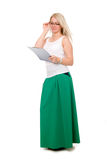 Full length of young blond holding clipboard Royalty Free Stock Images