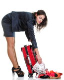 Full length young business woman to late red travel bag Stock Photography
