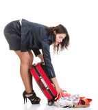 Full length young business woman to late red travel bag Royalty Free Stock Photos