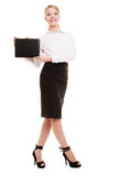 Full length of young businesswoman showing document case Stock Images