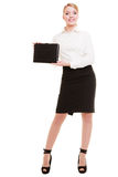 Full length of young businesswoman showing document case Royalty Free Stock Images
