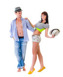 Full length of young couple isolated over white Stock Photo